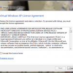 Accept Virtual XP license agreement